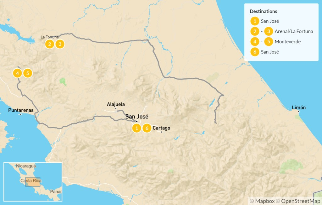 Map of Active Week in Costa Rica: Pacuare River Rafting, Arenal, & Monteverde - 7 Days
