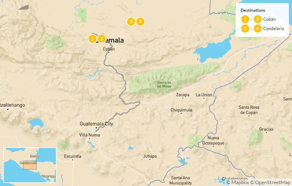 Map of Guatemala Adventure: Ram Tzul, Semuc Champey, Candelaría, & Laguna Lachúa - 5 Days
