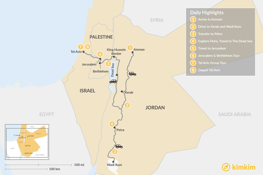 Map of Jordan & Palestine Highlights: Amman, Wadi Rum, Petra, The Dead Sea, Jerusalem, Tel Aviv - 8 Days