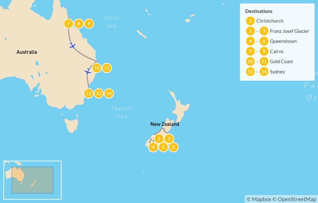Map of Best of New Zealand & Australia: Queenstown, Cairns, Sydney & More - 15 Days