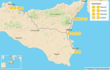 Map thumbnail of Best of Sicily: Palermo, Syracuse, Taormina, & Catania - 15 Days