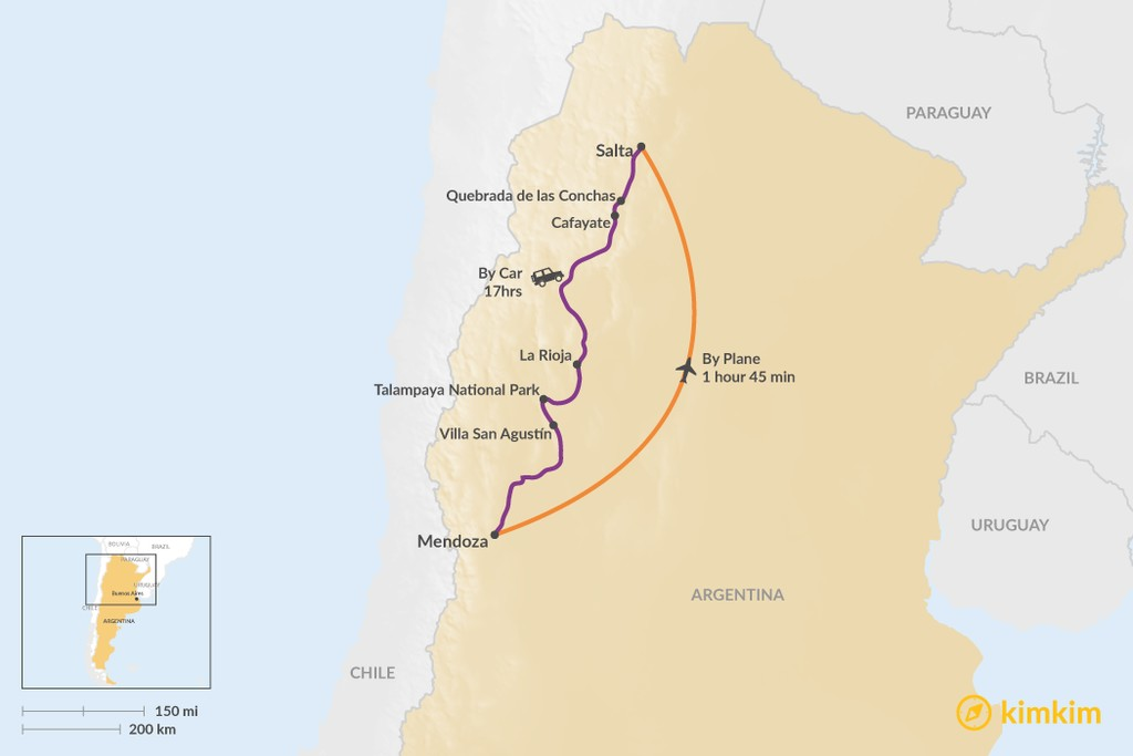 Map of How to Get from Mendoza to Salta