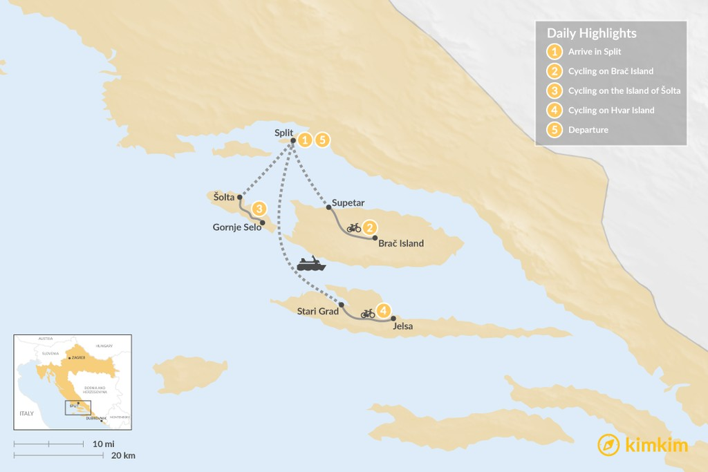 Map of Cycling Croatia's Dalmatian Coast: Split, Brač, Hvar – 5 Days