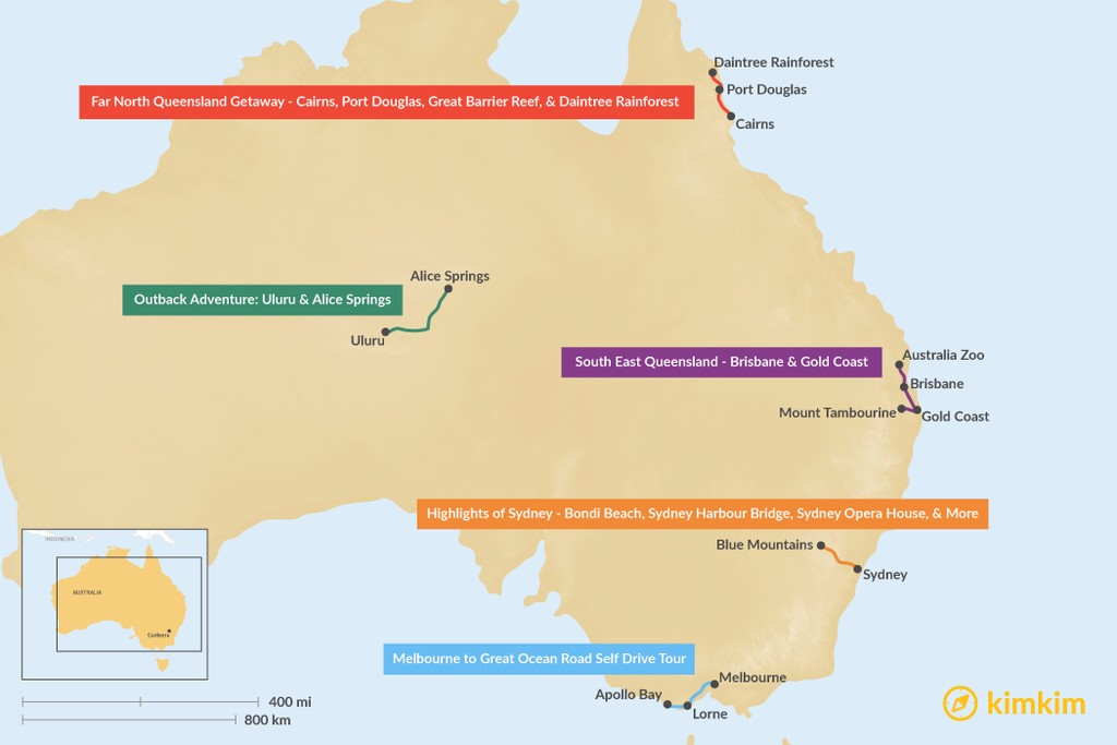 Map of 5 Days in Australia - 5 Unique Itinerary Ideas