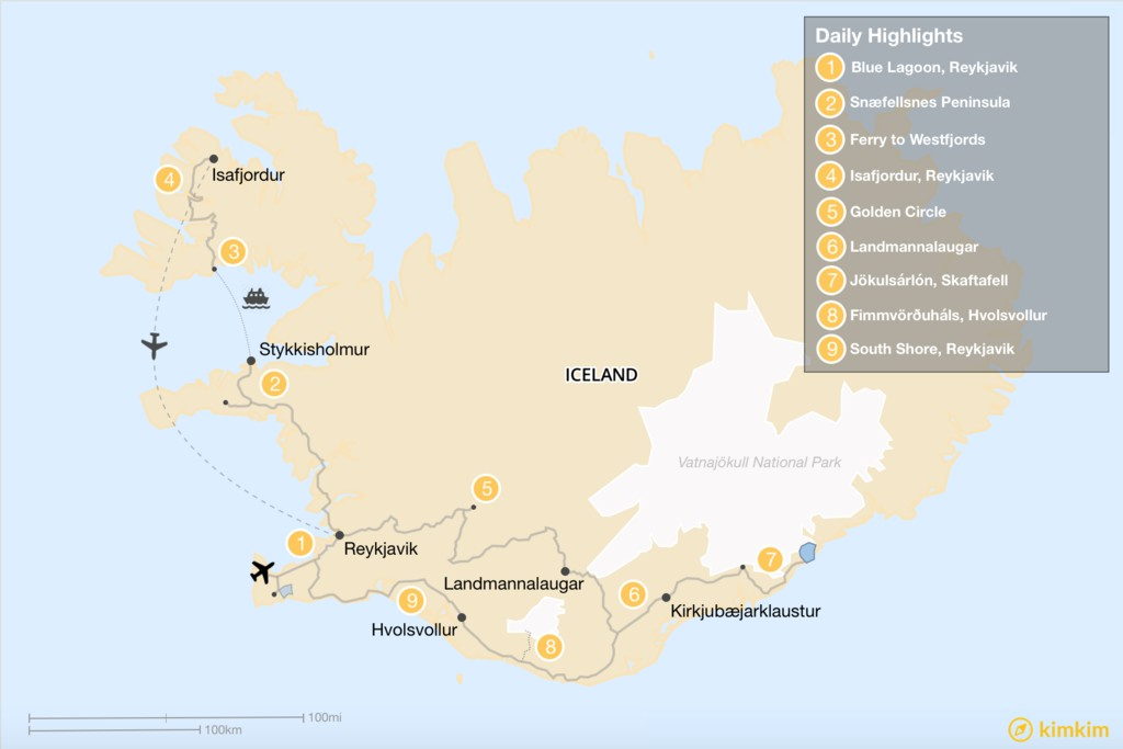 Map of Western and Southern Iceland - 9 Days