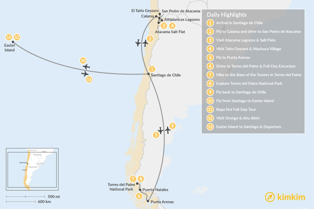 Map of Chile Grand Tour - 13 Days