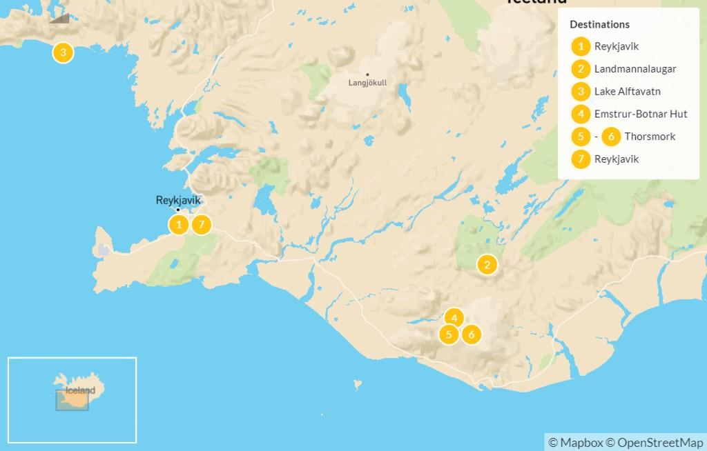 Map of Hiking in Iceland's Highlands: Laugavegur Trek - 7 Days