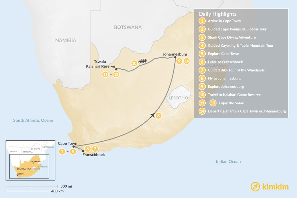 Map of Discover South Africa: Cape Town, Winelands, Johannesburg, & Tswalu Kalahari - 14 Days