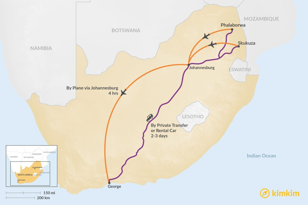 Map of How to Get from Kruger National Park to the Garden Route