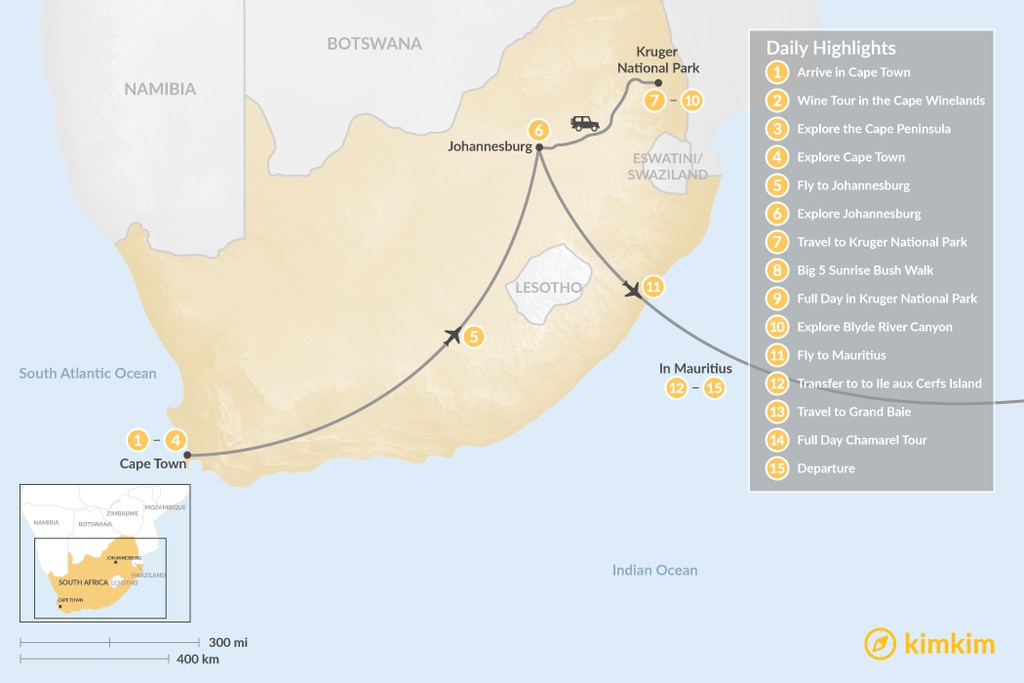 Map of Classic South Africa and Mauritius: Cape Town, Johannesburg, Kruger Safari, & More - 15 Days