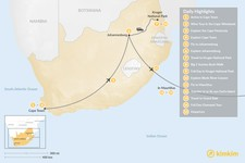 Map thumbnail of Classic South Africa and Mauritius: Cape Town, Johannesburg, Kruger Safari, & More - 15 Days