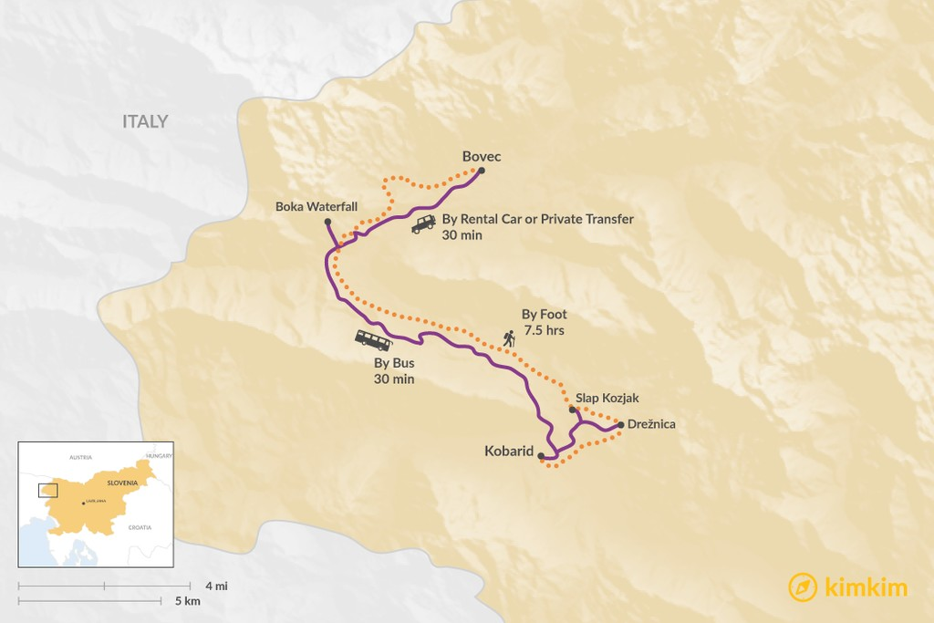 Map of How to Get from Bovec to Kobarid