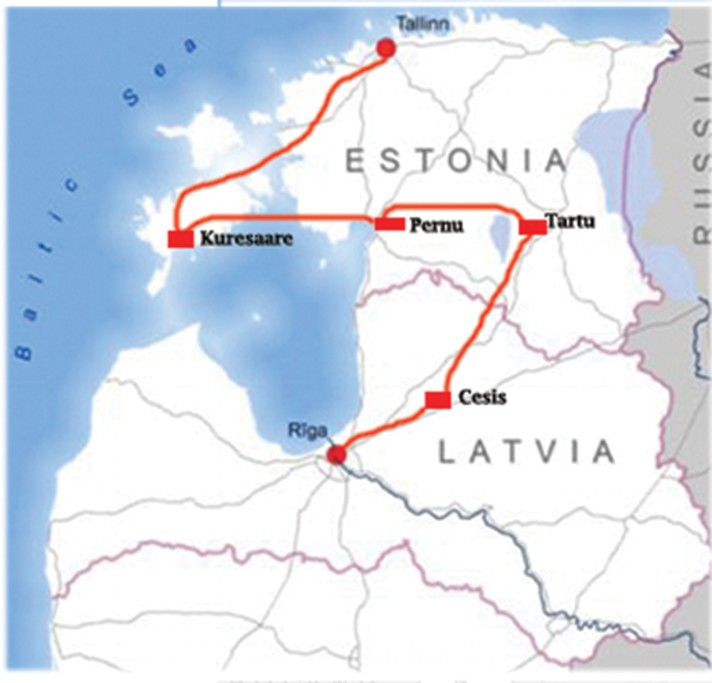 Map of Ancient Traditions in Latvia & Estonia - 9 Days