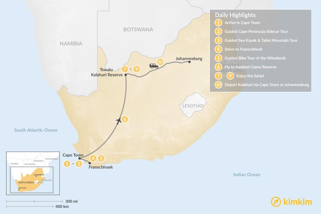 Map of Discover South Africa: Cape Town, Winelands, & Tswalu Kalahari - 10 Days