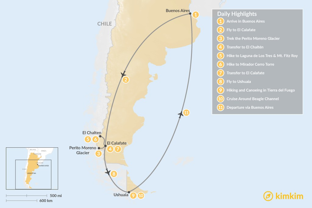 Map of Best of Argentine Patagonia: Buenos Aires, El Calafate, El Chaltén, Tierra del Fuego - 11 Days