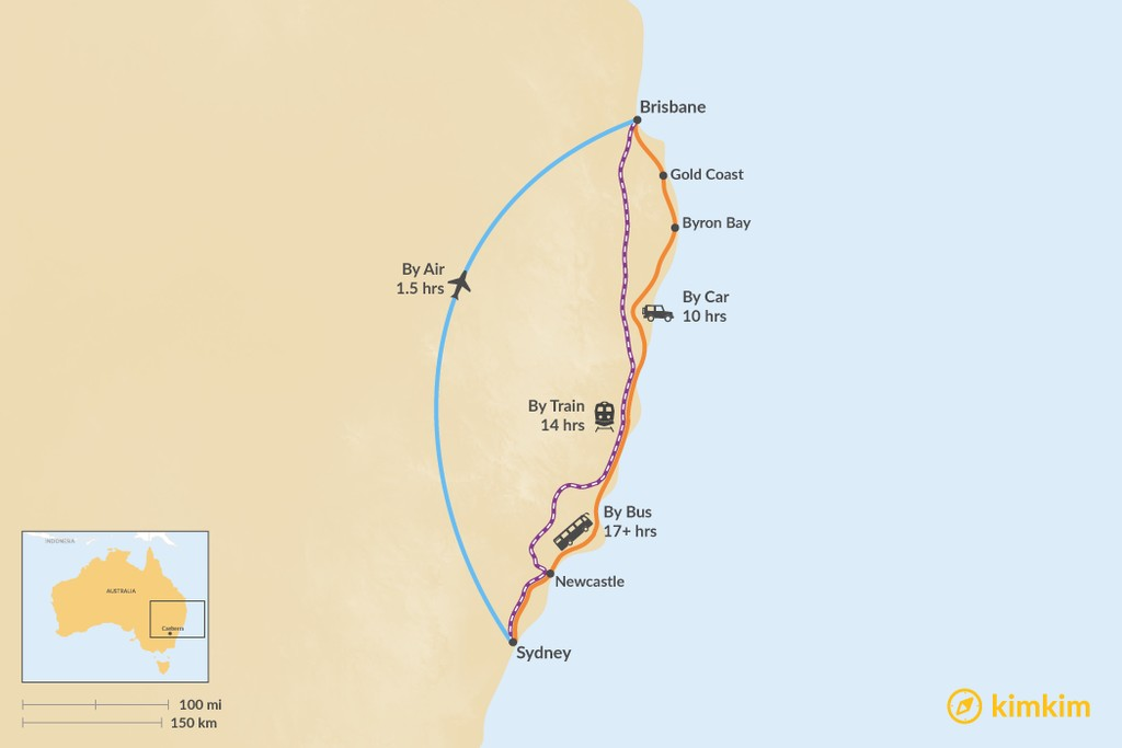 Map of How to Get from Sydney to Brisbane