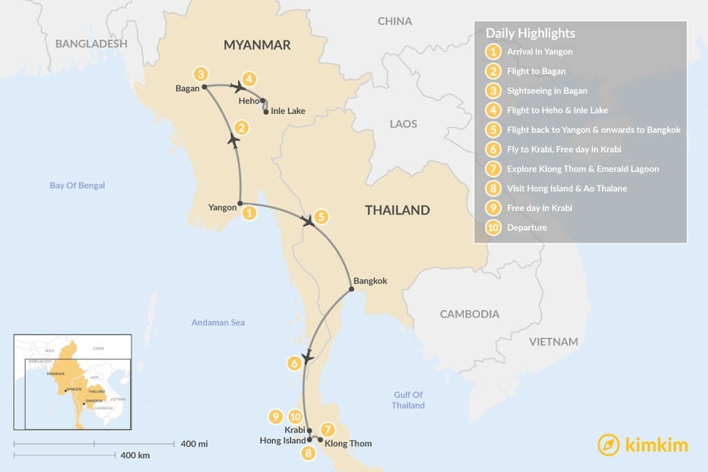 Map of Myanmar & Thailand Adventure - 10 Days