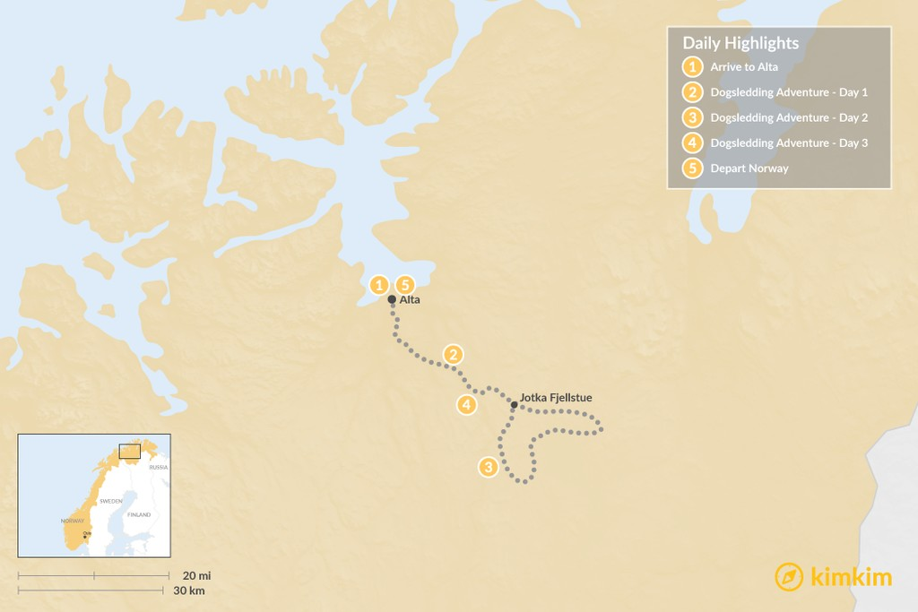 Map of Norway Dogsledding Adventure - 5 Days