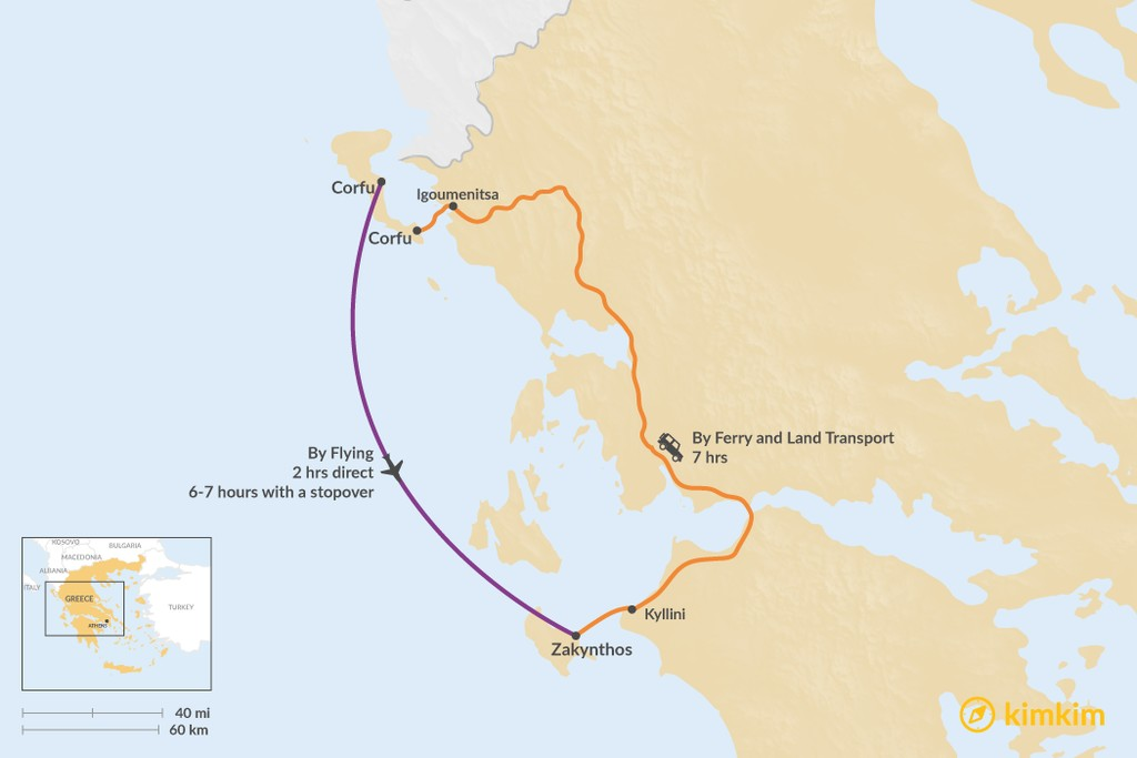 Map of How to Get from Corfu to Zakynthos