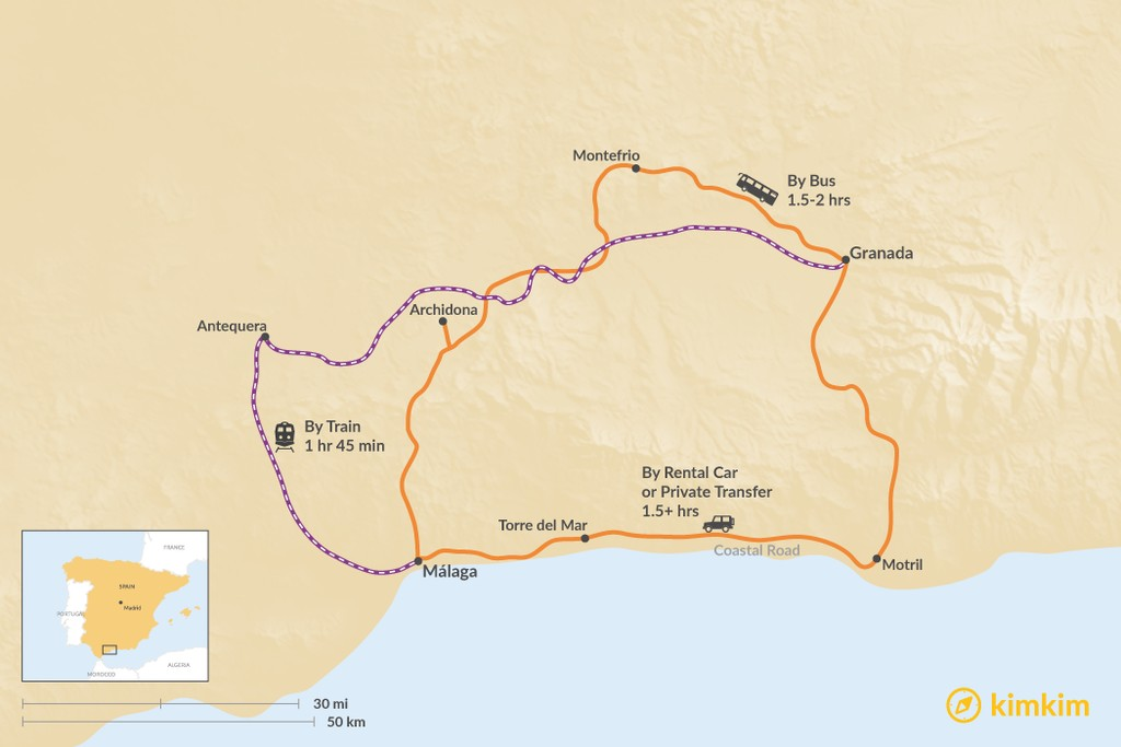Map of How to Get from Granada to Malaga