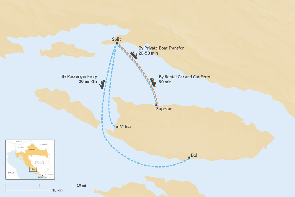 Map of How to Get from Split to Brač Island
