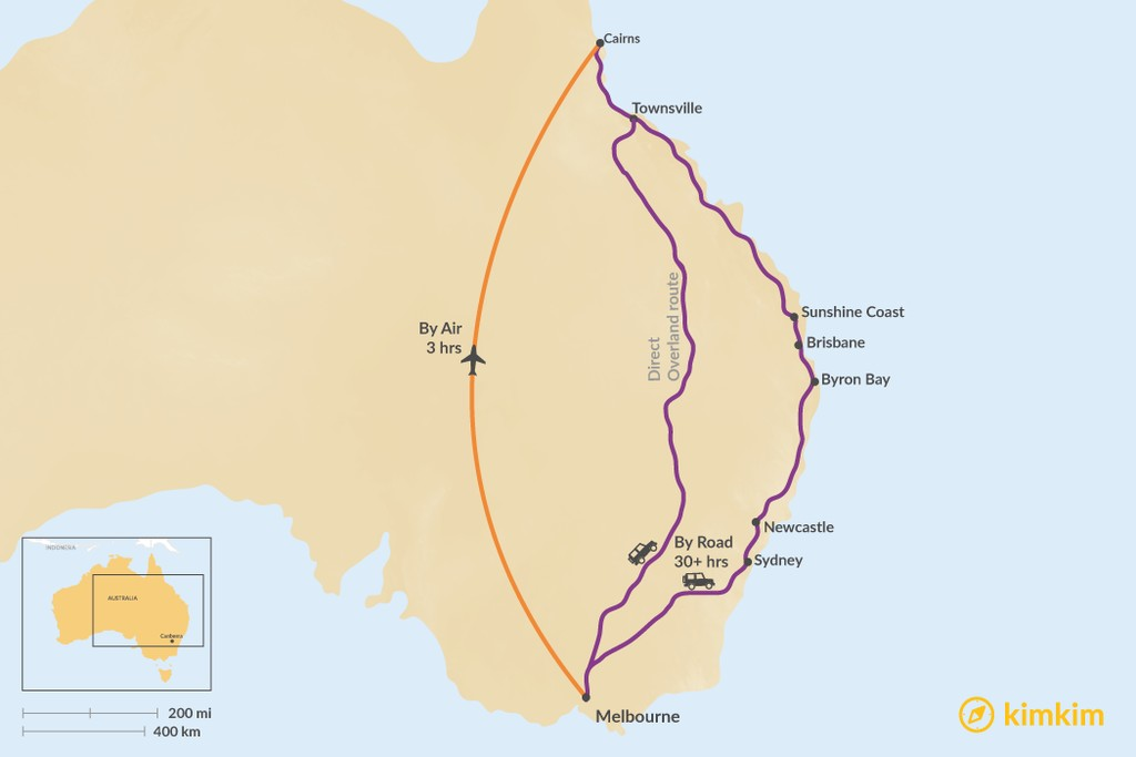 Map of How to Get from Melbourne to Cairns
