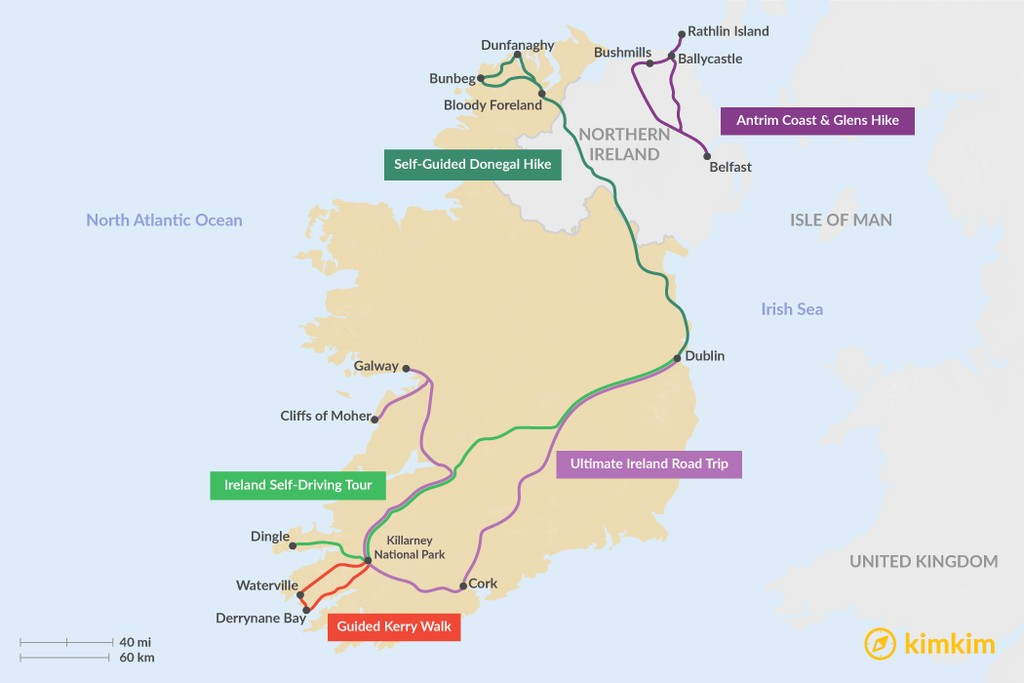 Map of 5 Days in Ireland - 5 Unique Itinerary Ideas