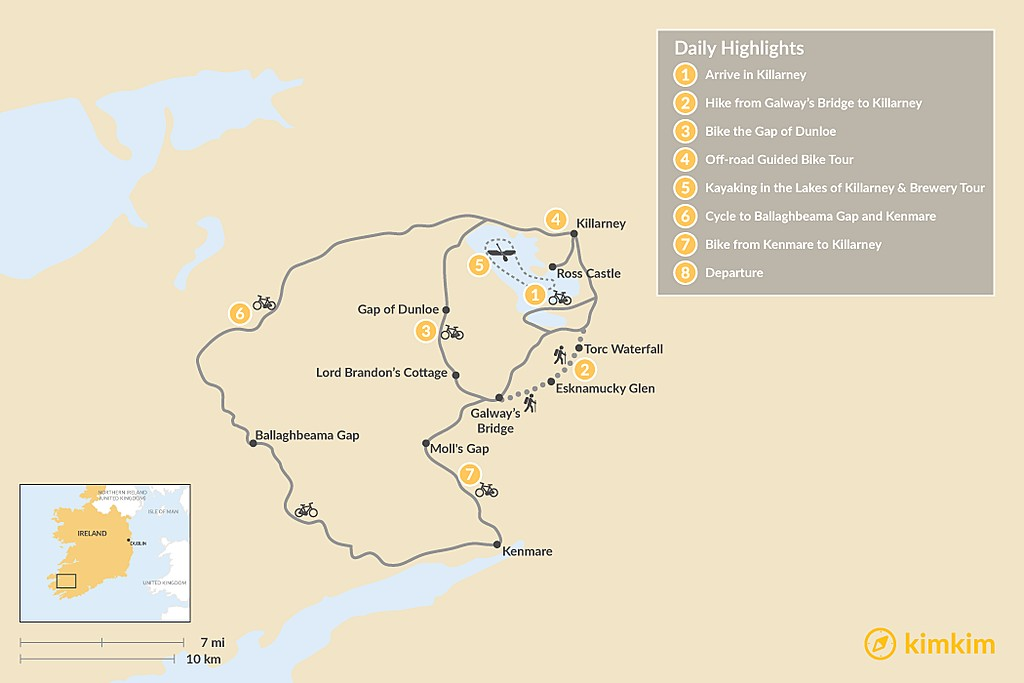 Map of Ring of Kerry Self-Guided Cycling Tour - 8 Days