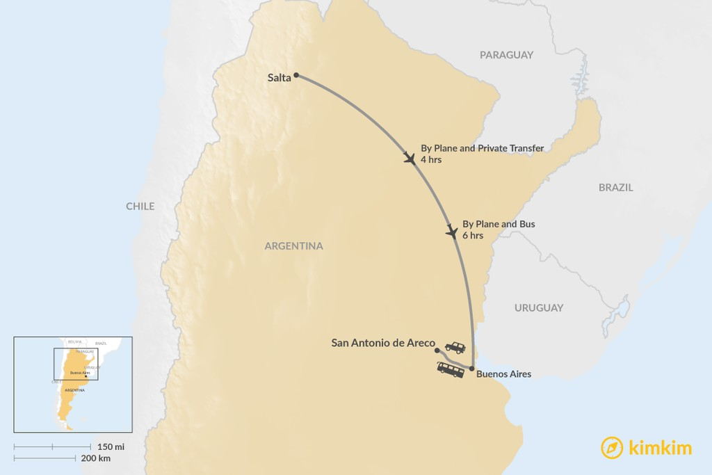 Map of How to Get from Salta to San Antonio de Areco