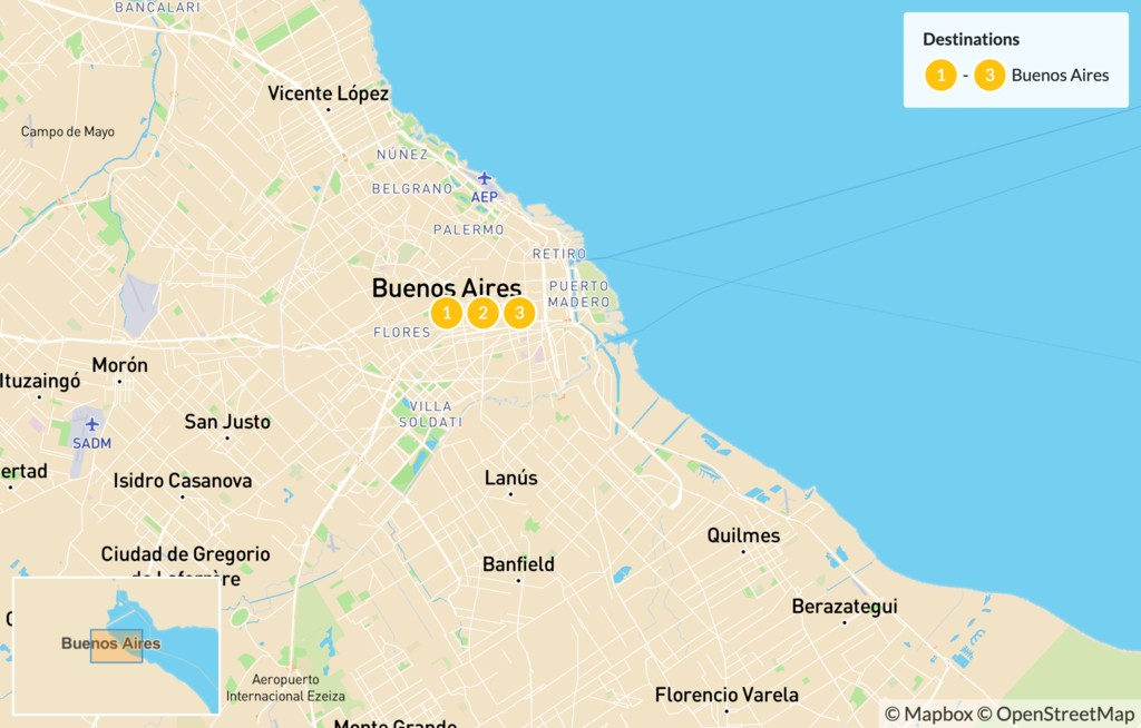 Map of Experience Buenos Aires - 4 Days