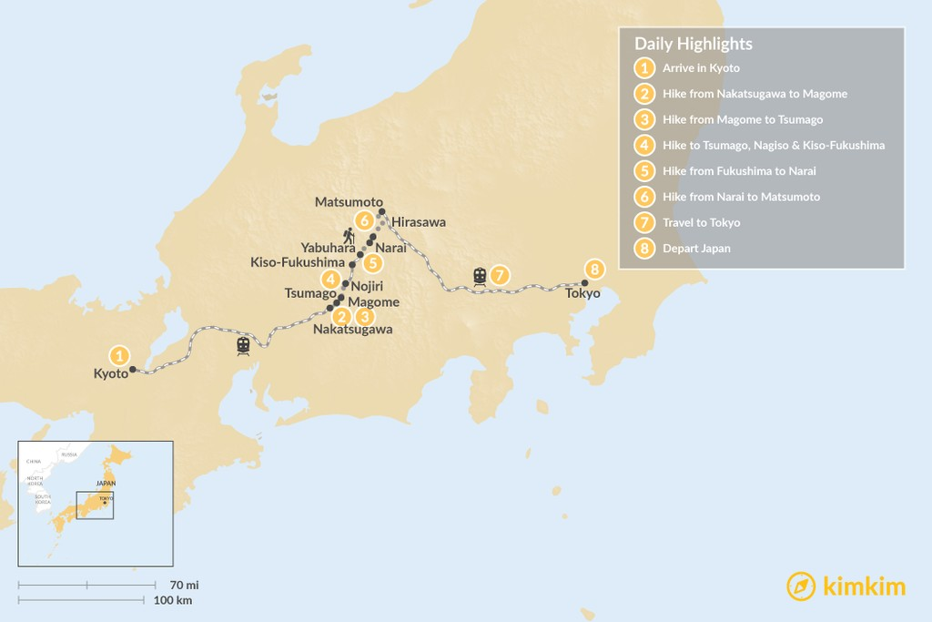 Map of Winter on the Nakasendo Trail: Kyoto, Kiso Valley & Tokyo - 8 Days
