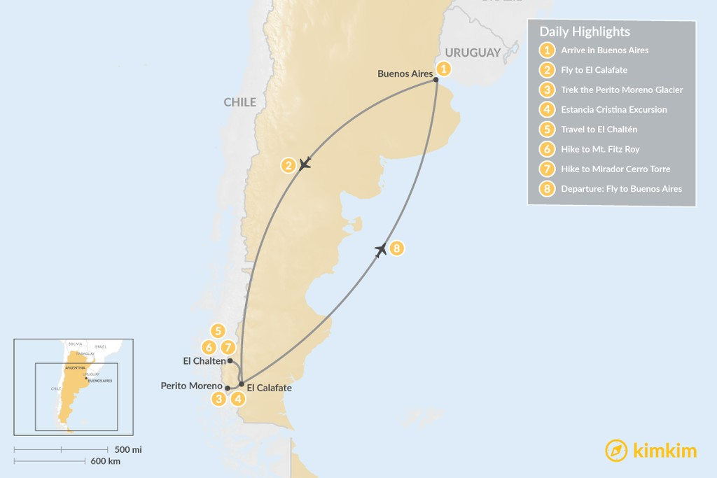 Map of Trekking in El Calafate & El Chalten - 8 Days