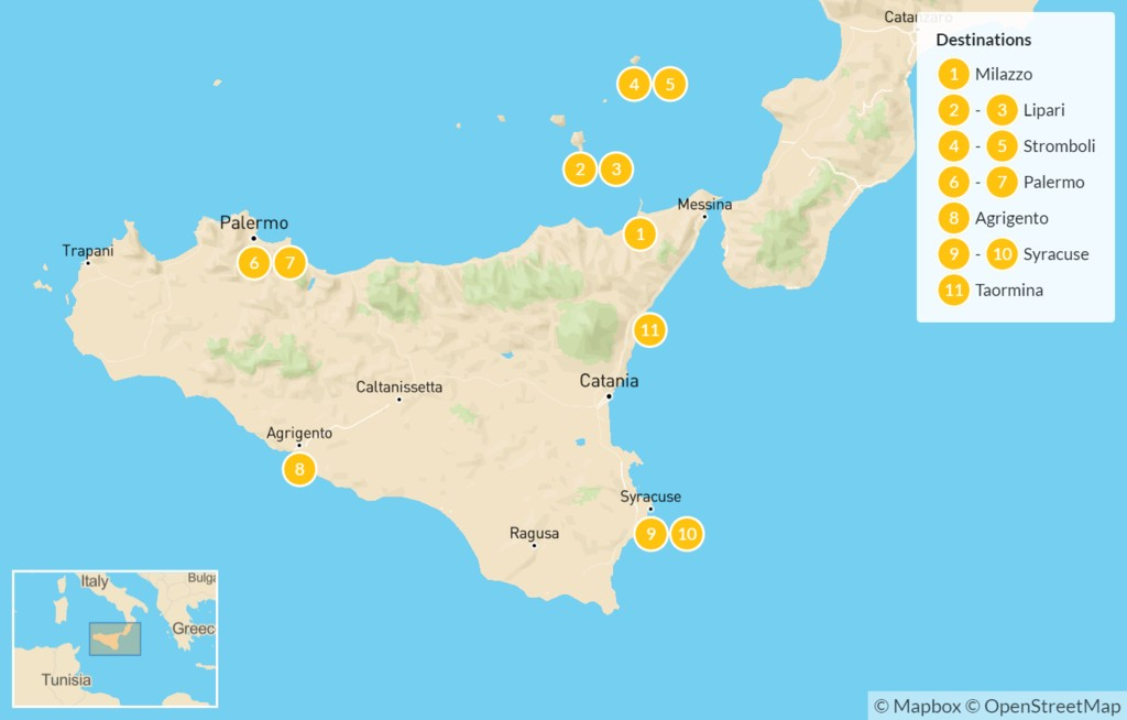 Map of Sicily Highlights Self-Drive Tour with Aeolian Islands - 12 Days