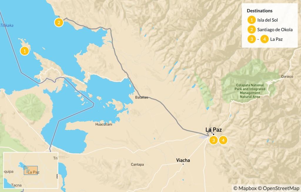 Map of Lake Titicaca & La Paz - 5 Days