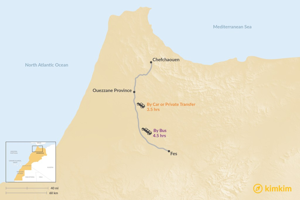 Map of How to Get from Fes to Chefchaouen