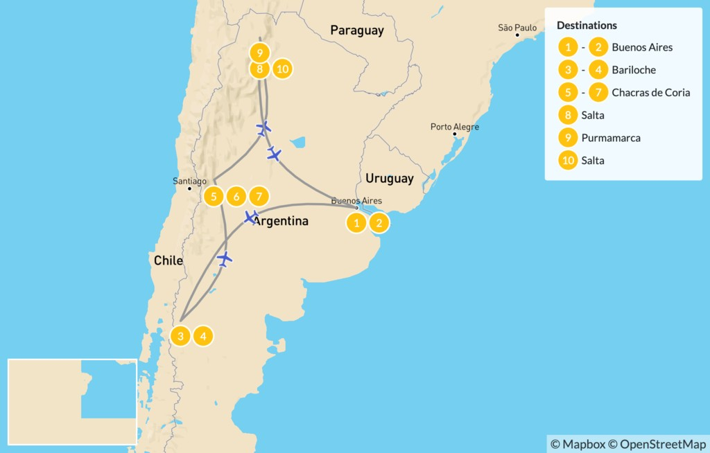 Map of Classic Argentina: Buenos Aires, Bariloche, Mendoza, & Salta - 11 Days