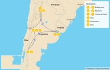 Map thumbnail of Classic Argentina: Buenos Aires, Bariloche, Mendoza, & Salta - 11 Days