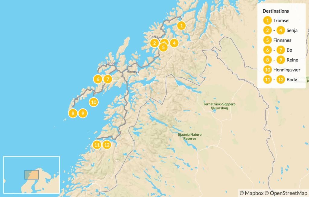 Map of Best of Norway's Arctic Islands - 13 Days