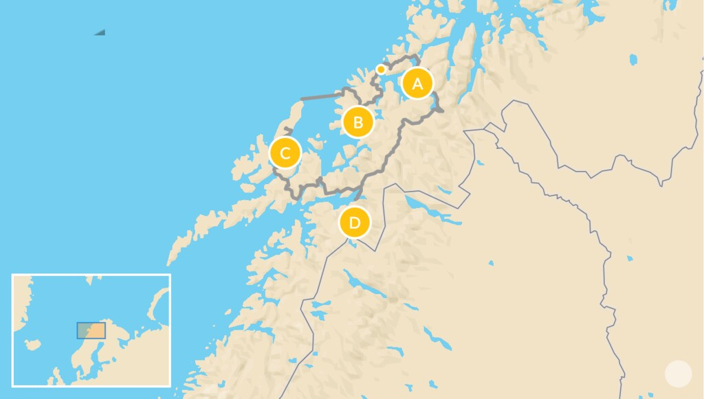 Map of Arctic Norway Summer Road Trip: Tromsø, Senja, Vesterålen & Narvik  - 10 Days
