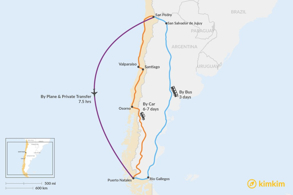 Map of How to Get from San Pedro de Atacama to Puerto Natales