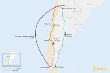 Map thumbnail of How to Get from San Pedro de Atacama to Puerto Natales