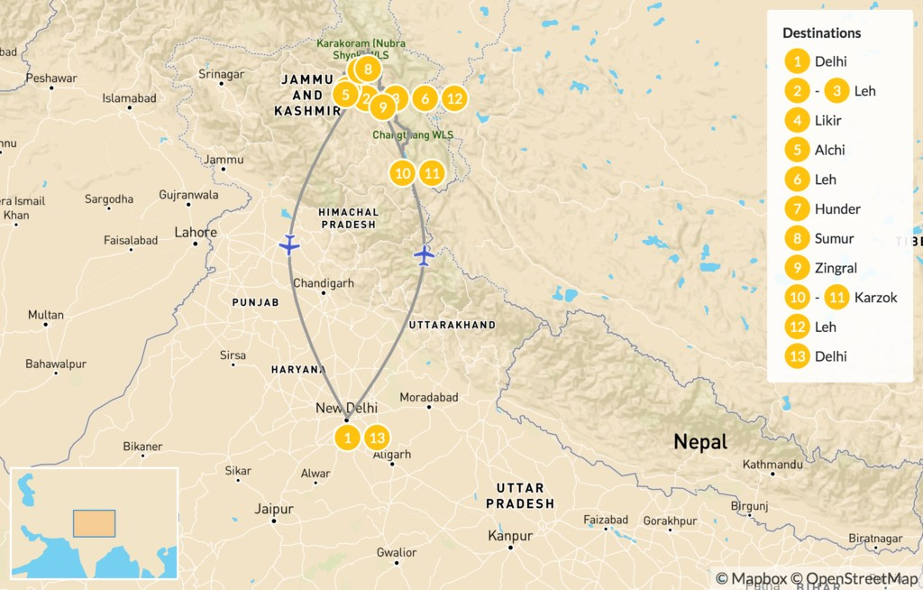 Map of India's Last Frontier - 14 Days