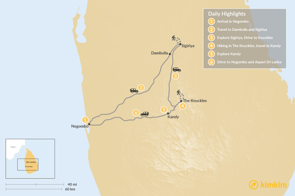 Map of Best of Sri Lanka - 6 Days