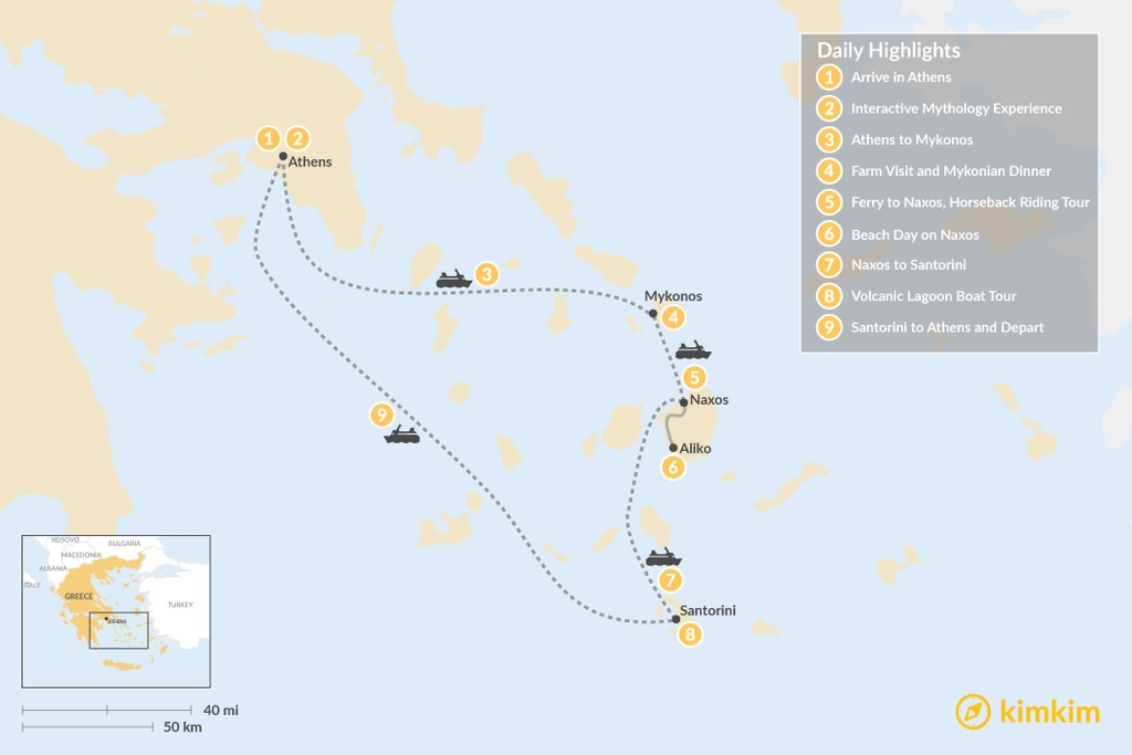 Map of Family Adventures in Athens and the Cyclades - 9 Days