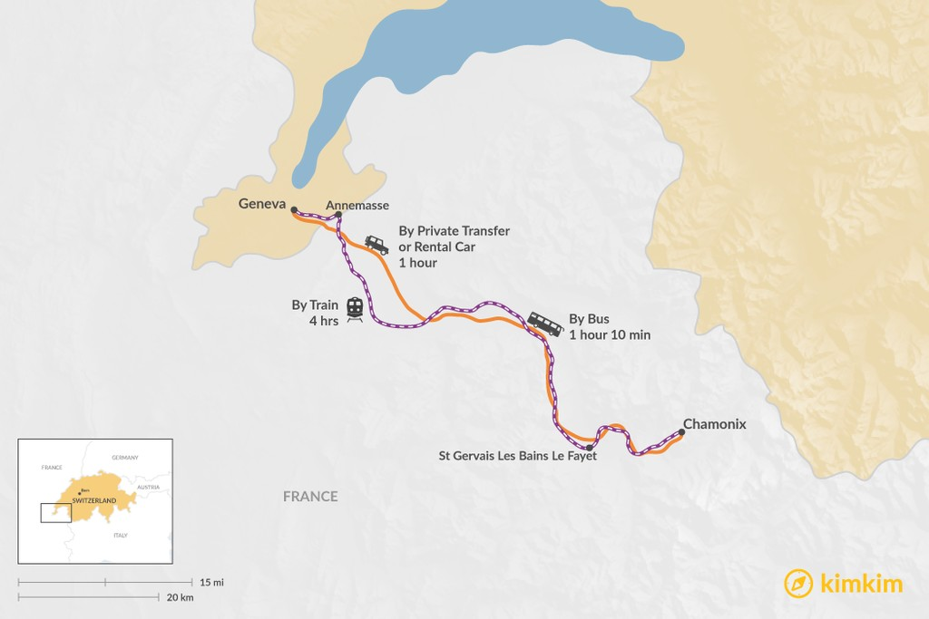 Map of How to Get from Geneva to Chamonix