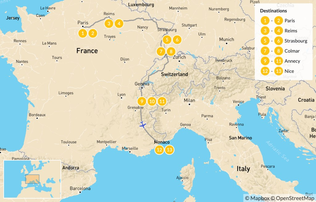 Map of Highlights of Eastern France: Paris, Reims, Strasbourg, Colmar, Annecy, & Nice - 14 Days