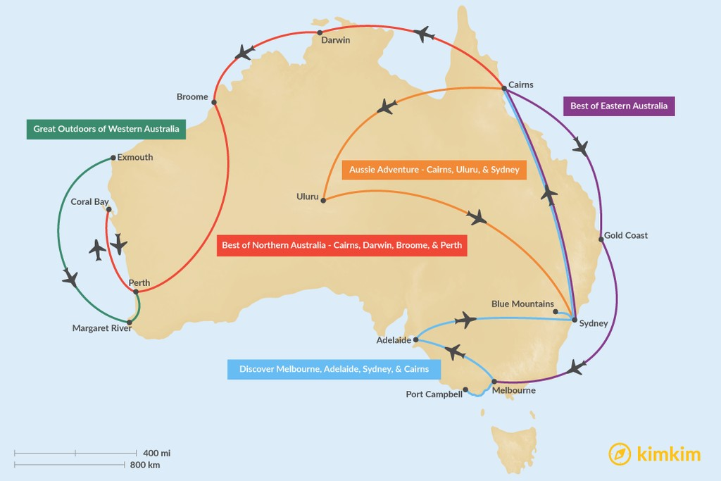 Map of 10 Days in Australia - 5 Unique Itinerary Ideas