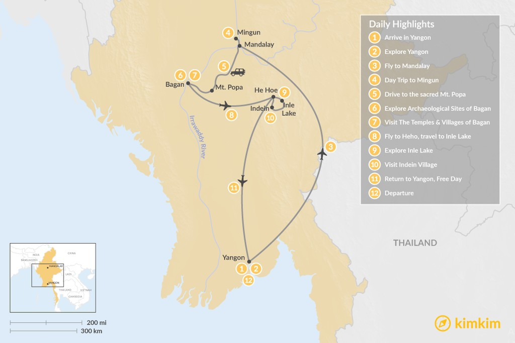 Map of The Culture & Heritage of Myanmar - 12 Days