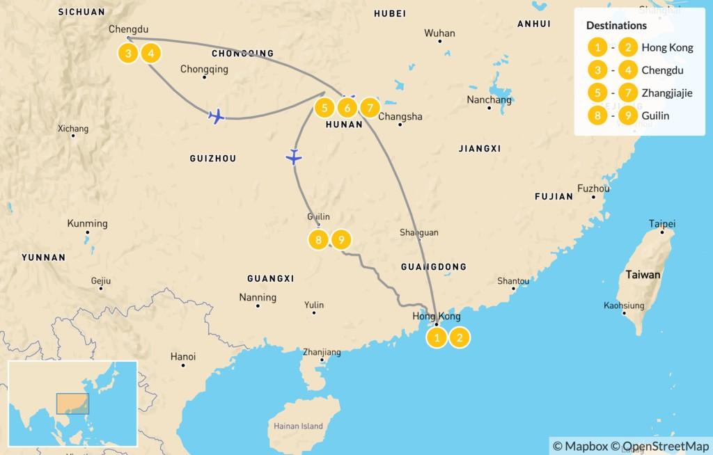 Map of Essential China: Hong Kong, Chengdu, Zhangjiajie, & Guilin - 10 Days