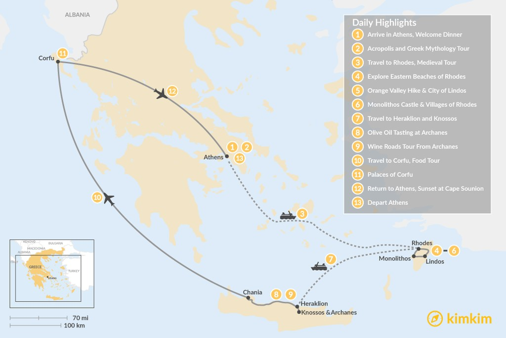 Map of Discover Rhodes, Crete, and Corfu - 13 Days